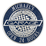 Victory Lane Garage Plaque - Standard Wall - 2 Line - Blue / Silver