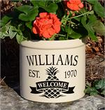 Personalized Ceramic Crock - Pineapple Welcome Crock
