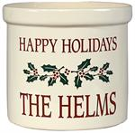 Personalized Ceramic Crock - Holiday Holly